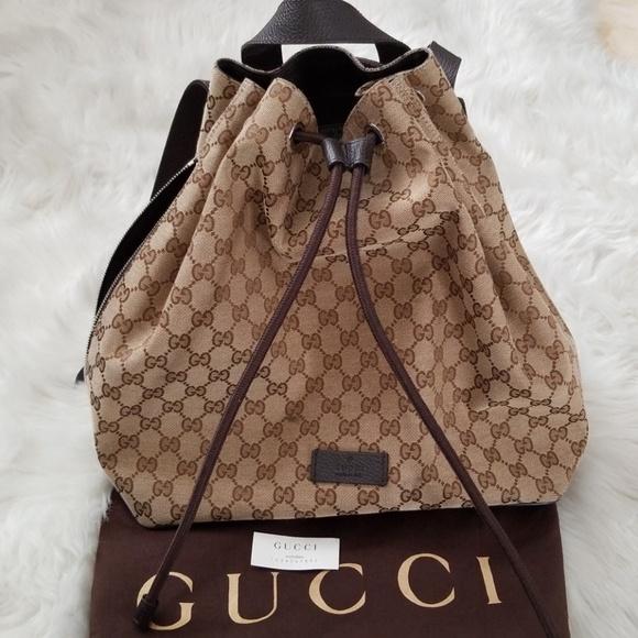 c24625b88d58a8 Gucci Handbags - 💯%Auth Gucci Monogram GG Pull String Backpack